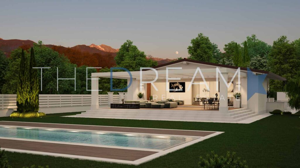 Exclusive project for a new villa for sale in Forte dei Marmi with fine finishes and equipped with all comforts, a few steps from the sea and the center. Property managed by The Dream RE, Real estate agency in Forte dei Marmi