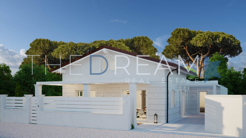 Refined project for a new villa for sale in Forte dei Marmi with an exclusive position, fine finishes and equipped with all comforts. Property managed by The Dream RE, Real estate agency in Forte dei Marmi